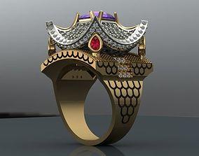 women ring 3D print model emerald