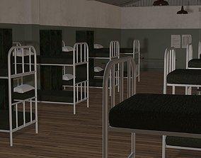 animated 3D Model Army Military Barracks room