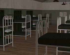 animated 3D Model Army Military Barracks room
