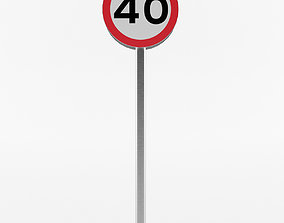 European Speed Limit Sign 1 3D model