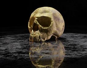 Golden skull 3D