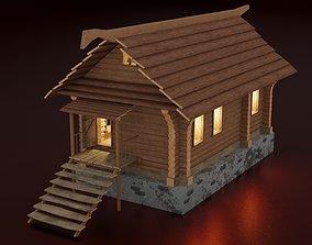 3D model VR / AR ready Wooden hut