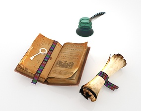 Treasure Map Old Book Inkwell 3D model
