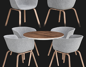 3D model Sultan Walnut Modern Round Dining Table