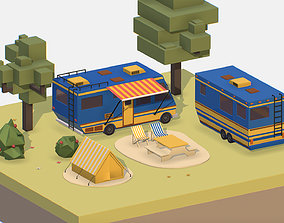 isometric blue tourist van on halt in meadow 3D model