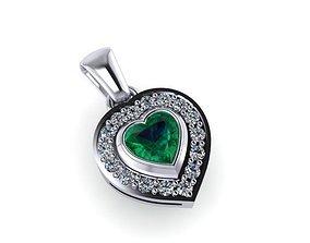 Pendant heart 3D printable model jewelry