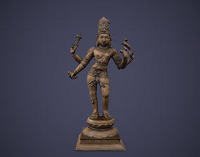 3D model low-poly Bronze Standing Lord Siva Sculpture