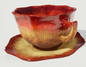 3D model Teacup and Saucer Red Glazed