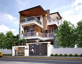 House design 3d model residential-building animated