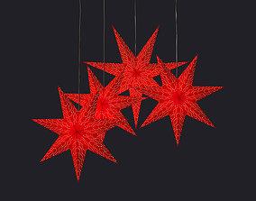 3D model Christmas decor - Red swedish stars