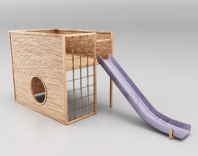 Childrens Slide Wooden 3D asset