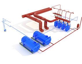 3D model Industrial boiler room