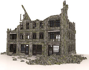 RUINED BUILDING POST APOCALYPSE WAR 3D asset game-ready