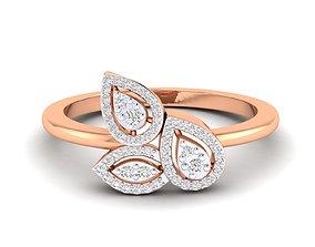 white diamond-ring Women Ring 3dm stl render detail