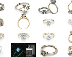 180 Jewelry Rings Collection 3D model