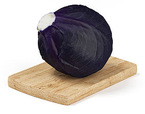 Red Cabbage on Wooden Board 3D model
