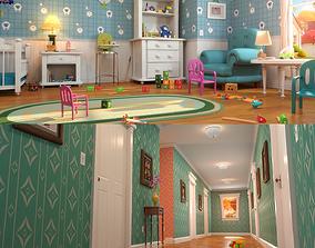3D Cartoon Corridor Baby Room