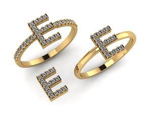 3D printable model Alphabet letter ring E