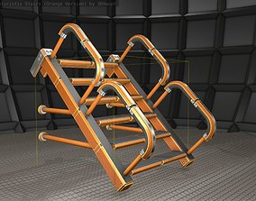 3D asset Sci-Fi Stairs - 25 - Orange Version