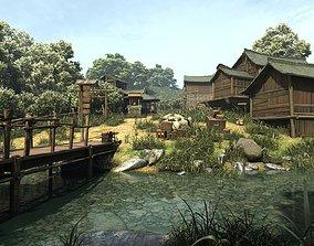 Chinese Village Ancient mountain village 3D asset