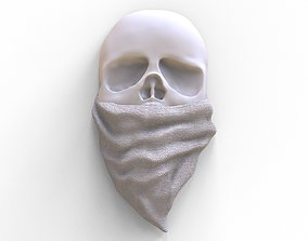 bas-relief stylized of the skull 3D printable model