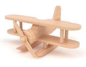 Wooden toy floatplane 02 3D model