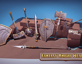 3D asset low-poly Fantasy Knight Weapons