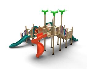 High Detailed Wooden PlayGround Kindergarten Set 3D 1