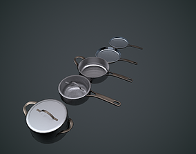 Low poly Pan Set for game or kitchen render 3D asset