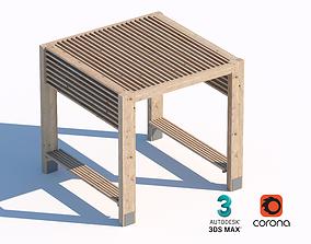 3D wooden street summerhouse bench