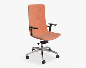 Office chair with high back and wheels 3D model