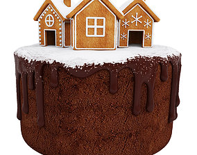 Chocolate cake with gingerbread houses 3D model