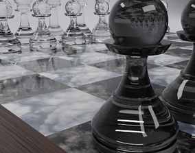 Chess set pieces 3D model