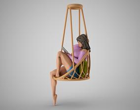 3D print model Girl on Hammock Seat