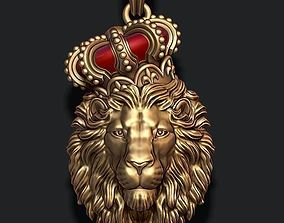 3D print model Lion pendant with crown and closed mouth v2