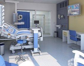 3D model Medical Patient Room 3 bed