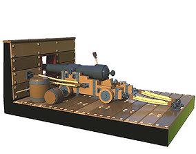 3D model Cannon firing lowpoly