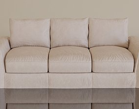 3D asset Contemporary modern leather sofa2 cream