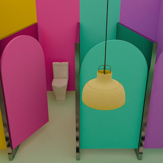 colorful bathroom retro
