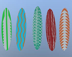 Low Poly Surfboards 3D model