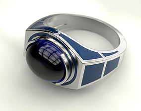 Ring with enamel R2D2 3D print model