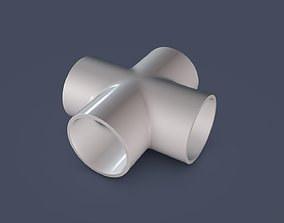 3D model 4 Way Pipe Connector