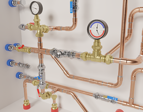 Copper modular pipe set 3D asset