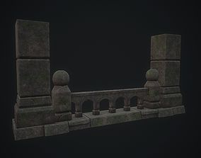 Stone Fence with Columns 3D model