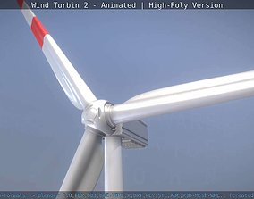 Animated Wind Turbin 2 - High-Poly Version 3D