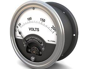 Vintage panel voltmeter 3D