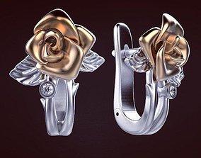 3D printable model sterling Rose Earrings
