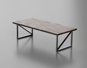 3D asset VR / AR ready desk Wooden Table