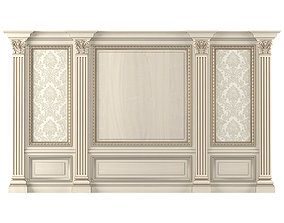 Wall wood boiserie paneling with Wallpaper 3D model