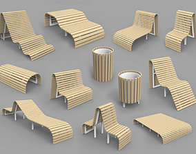ambient Wooden Benches family and recycle bin 3D